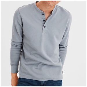 Men's American Eagle Gray Soft Henley Thermal - M